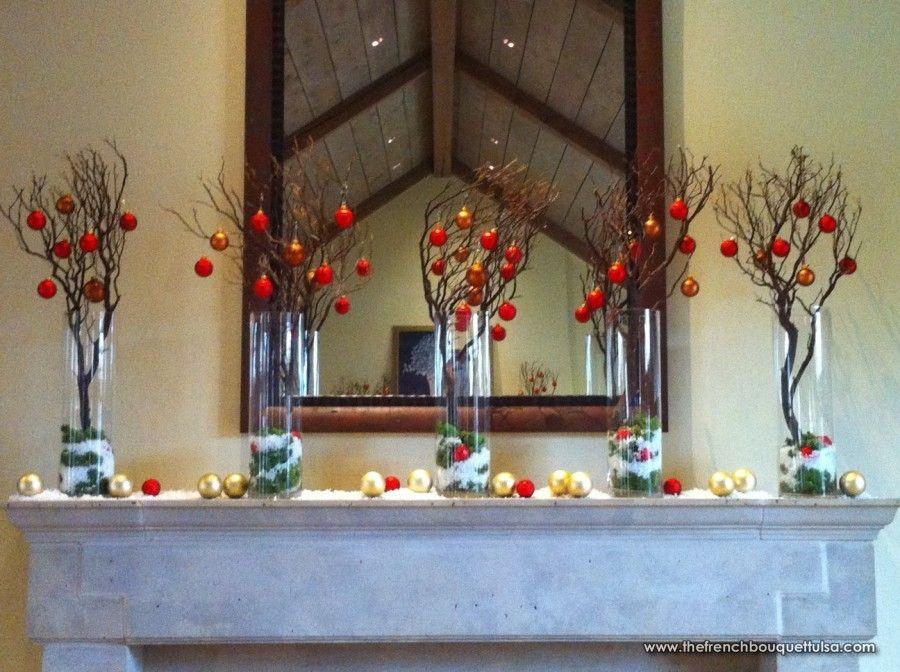 Christmas Mantel Fireplace Decoration of Manzanita Branch Trees