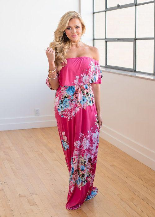 0a1203f45e Hot Pink Floral Off The Shoulder Maxi, Boutique, Online Boutique, Women';s  Boutique, Modern Vintage Boutique, Dress, Maxi Dress, Floral Dress, ...