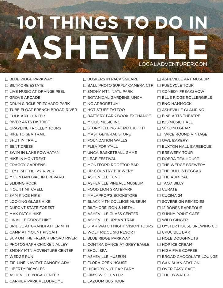 Ultimate Asheville Bucket List (101 Things to Do i