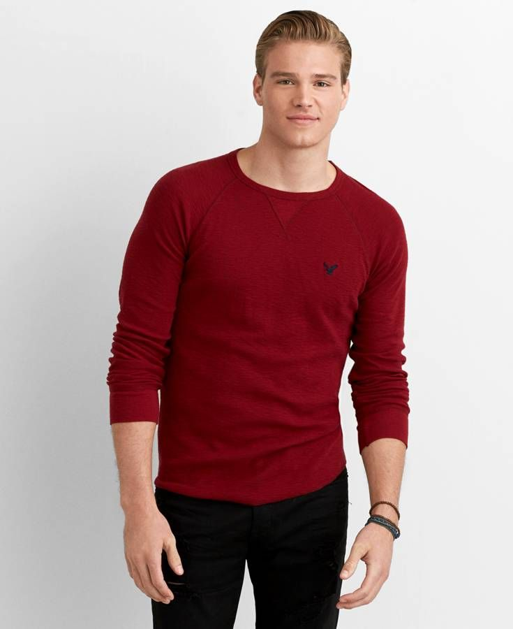 f4013943 Red T-Shirt. The long sleeve t-shirt is also a great thing to have. Roll up  the sleeves like this man, and you have yourself a great, laid back look.