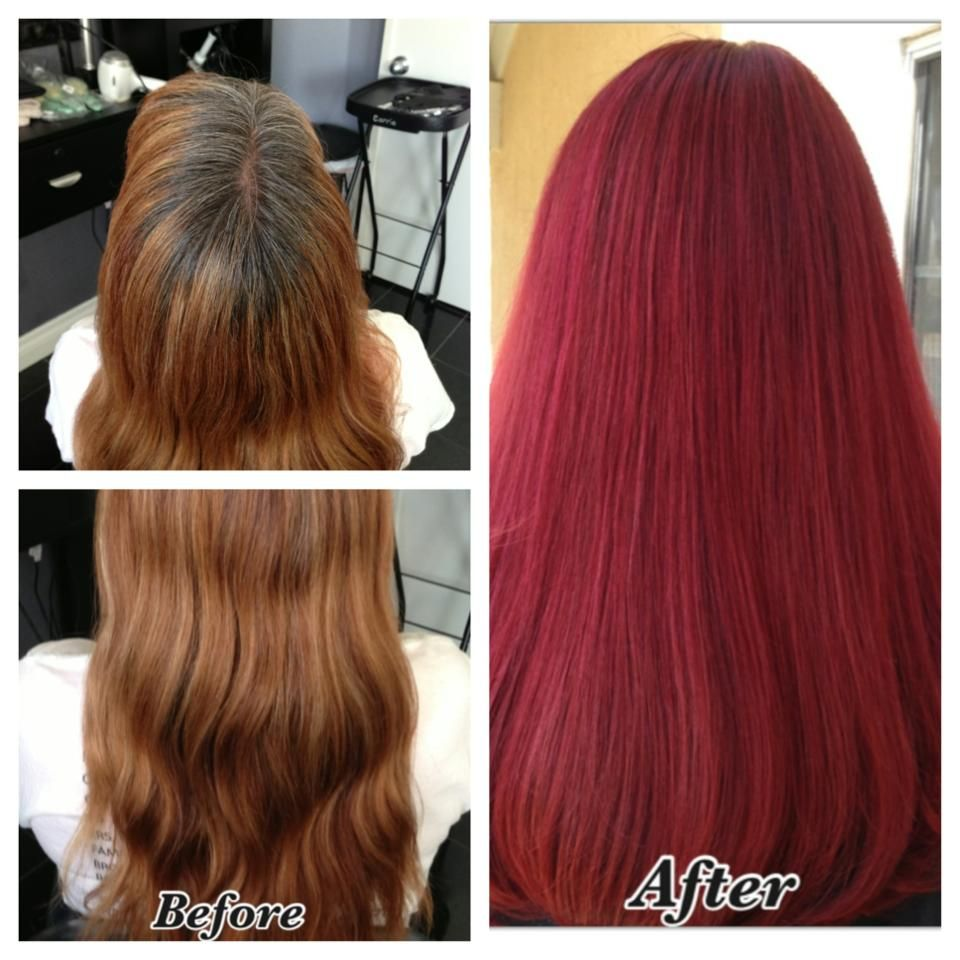Before After Red Hair Corrective Color Long Hair Matrix Color