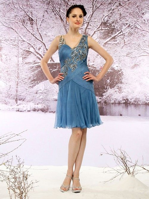 Azure Blue Chiffon Dress, Ladies Dresses, Designer, Latest, Online