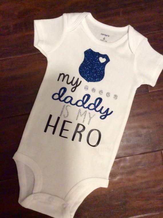 Baby Boy Bodysuit Police Onesie Baby Police Bodysuit Dad Gift Bodysuit Baby Shower Gift My Hero Wears A Badge Onesies\u00ae Bodysuit