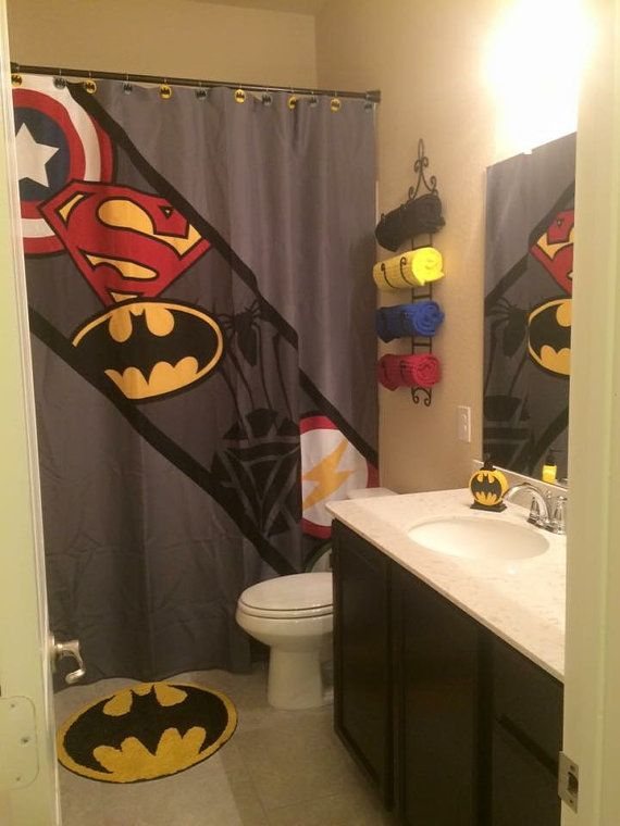 Awesome For Kevinu0027s Bathroom In His Office Superhero Shower Curtain Super Hero  Shower By PrintArtShoppe