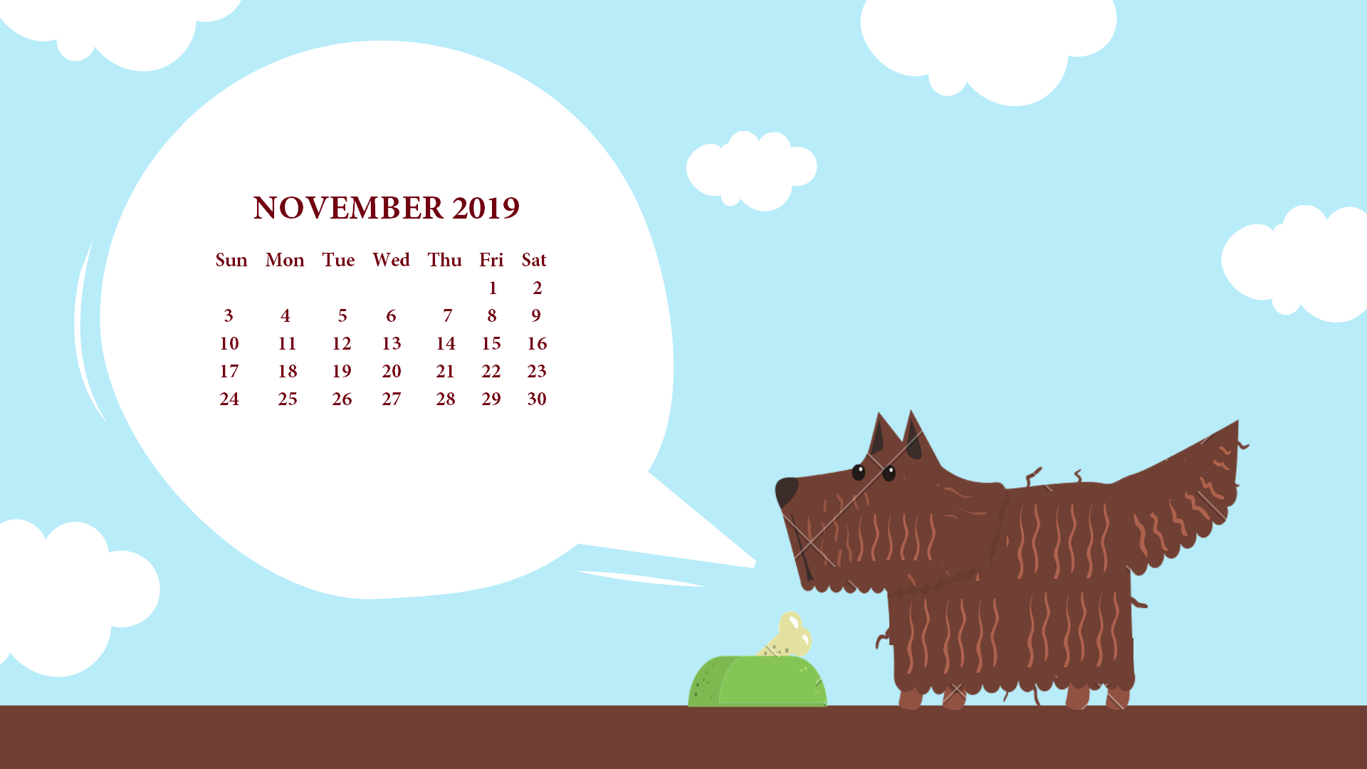 November 2019 Desktop Calendar Wallpaper November