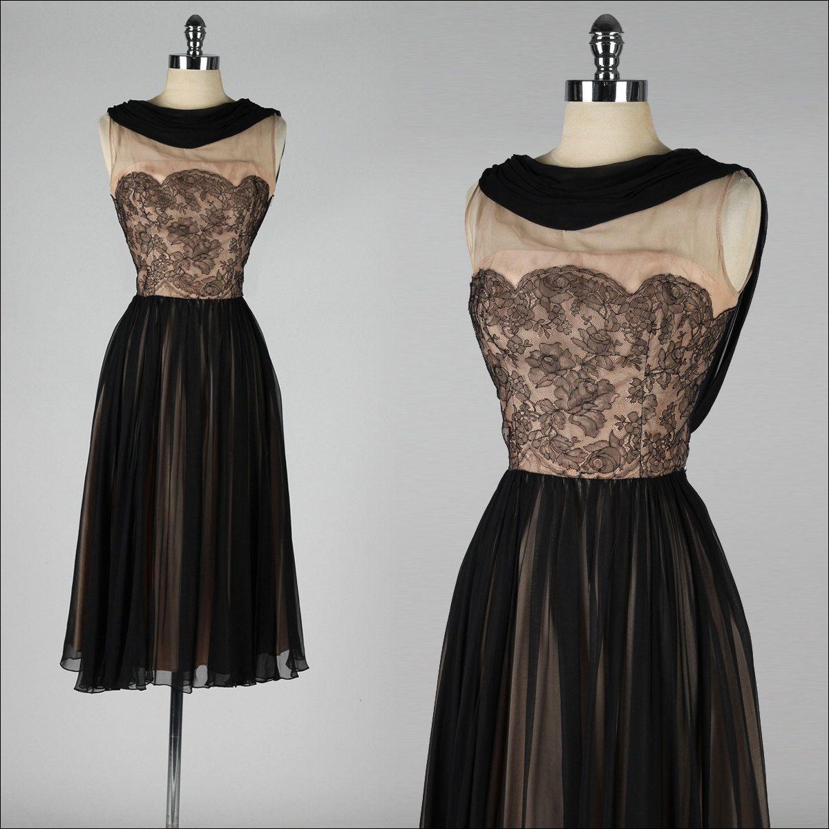 Vintage s dress black lace illusion by millstreetvintage