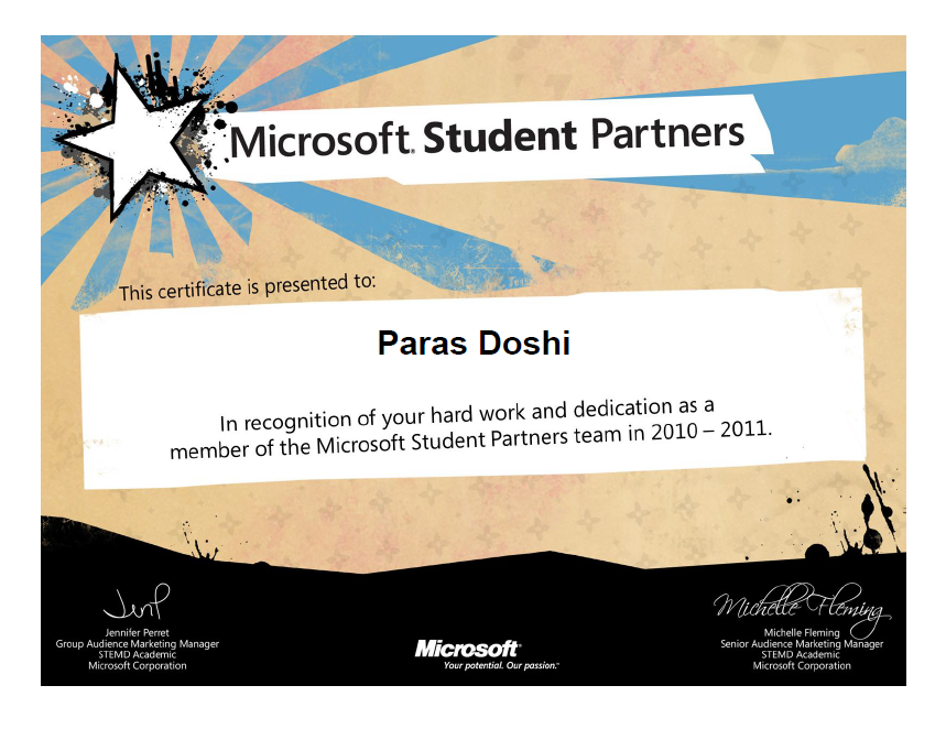 Got The Microsoft Student Partner Graduation Certificate