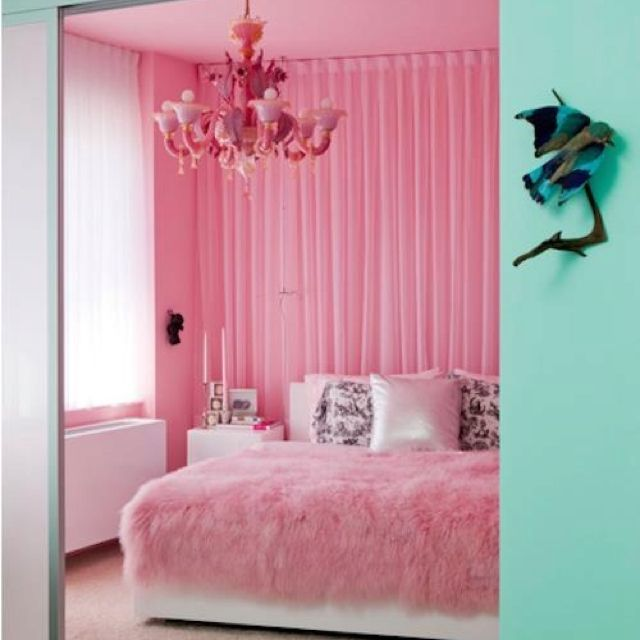 pink and tiffany blue bedroom with a pink chandelier and fluffy pink fur blanket ...