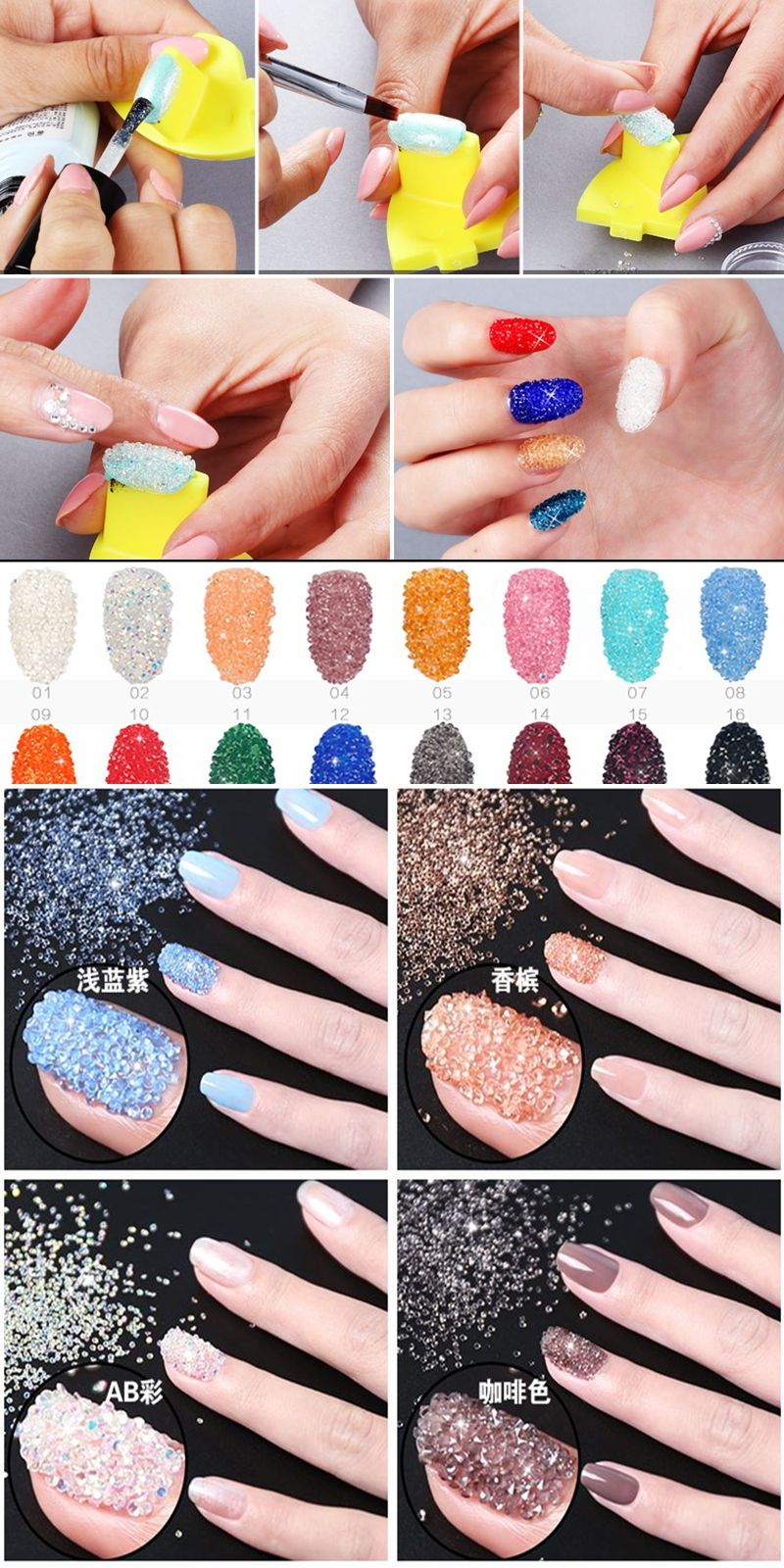 Many Colors Beauty Mini Nail Art Rhinestones About 1440pcs 15mm