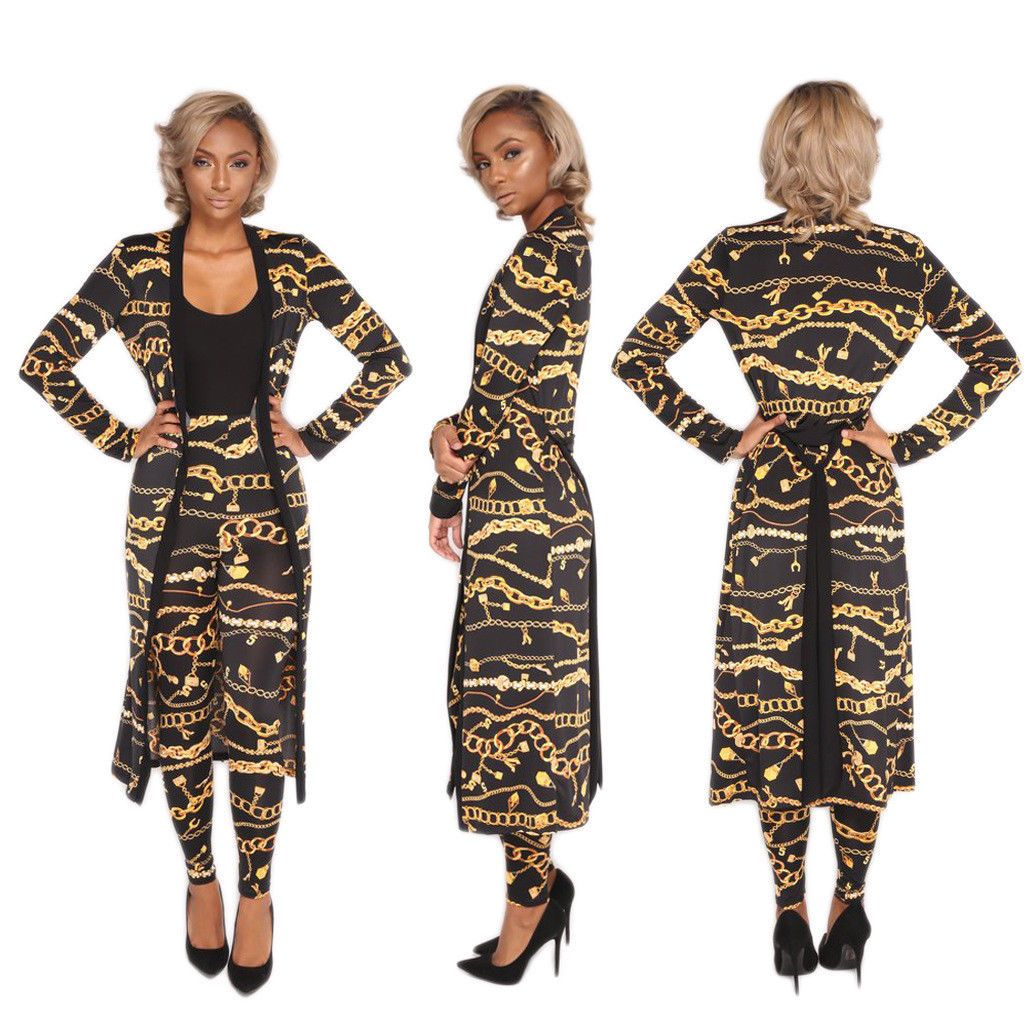 2f3c557f1fcd Women Sexy Print Long Sleeves Cloak With Pants Bodycon Jumpsuit Party Casual