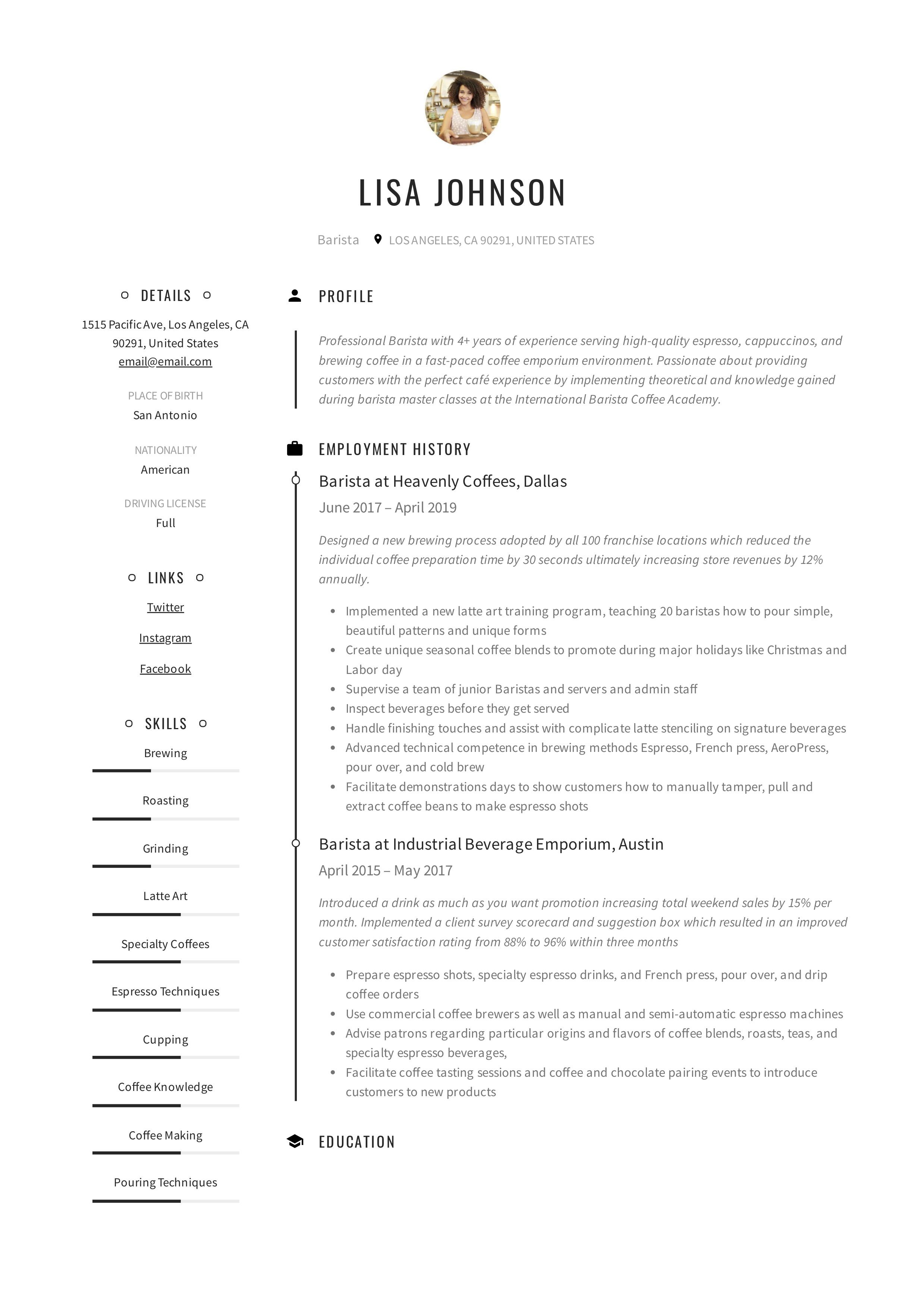 Barista resume writing guide in 2020 guided writing