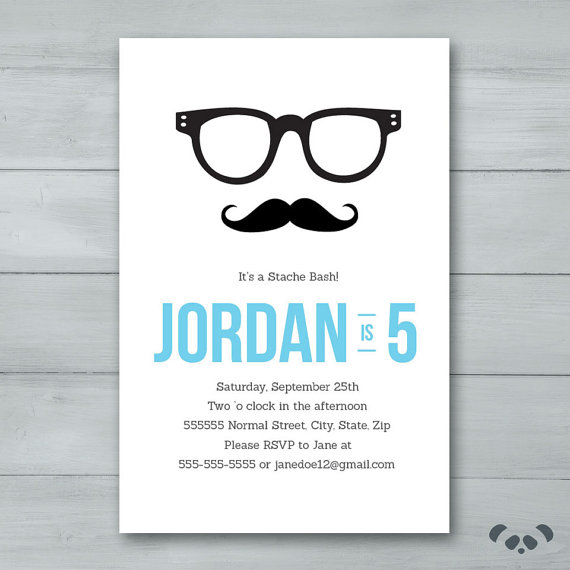 Mustache Hipster Birthday Party Invitation by PandafunkCreations