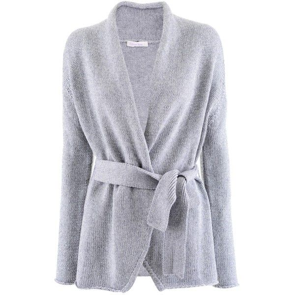 Stephan Boya Grey Silver Belted Cashmere Cardigan ($590) ❤ liked on Polyvore featuring tops, cardigans, jackets, grey cardigan, belted top, belted cardigan, grey top and cashmere tops