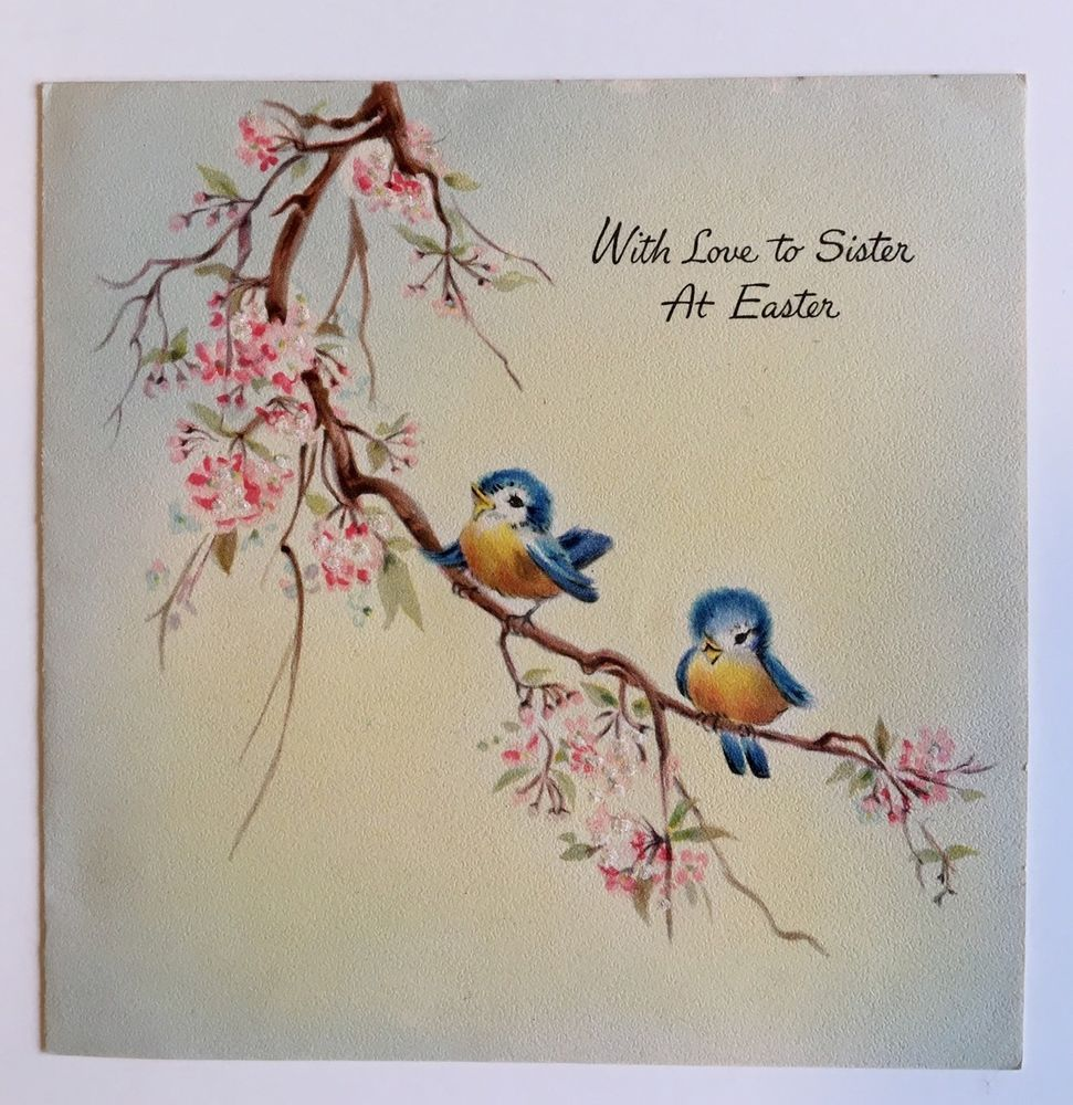 Vintage Hallmark Easter Card Cute Bluebird Glitter Pink Flower Tree
