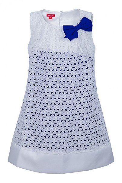 La-V Mädchenkleid mit Lochstickerei Weiß-Blau/Größe 98 ...