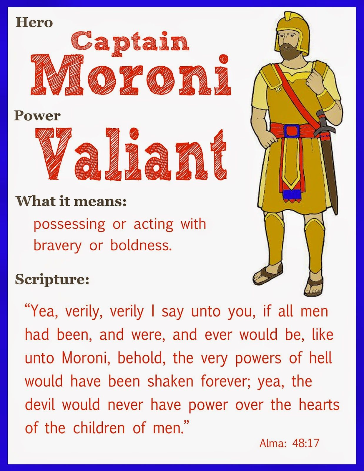 Scripture heroes captain moroni family home evening pinterest