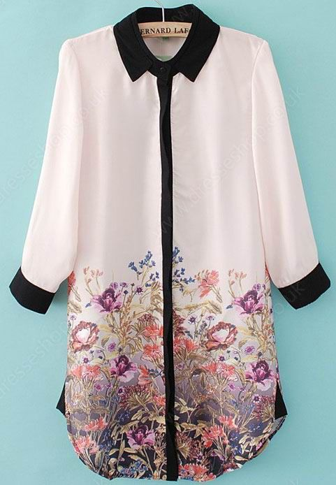 Light Pink Long Sleeve Contrast Trims Floral Chiffon Blouse. If it is long enough, it could be used as a cute summer dress :)