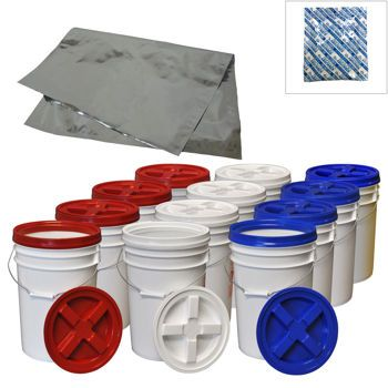 12-pack Gamma Lids & 6-gallon Buckets with 12 Mylar Pouches