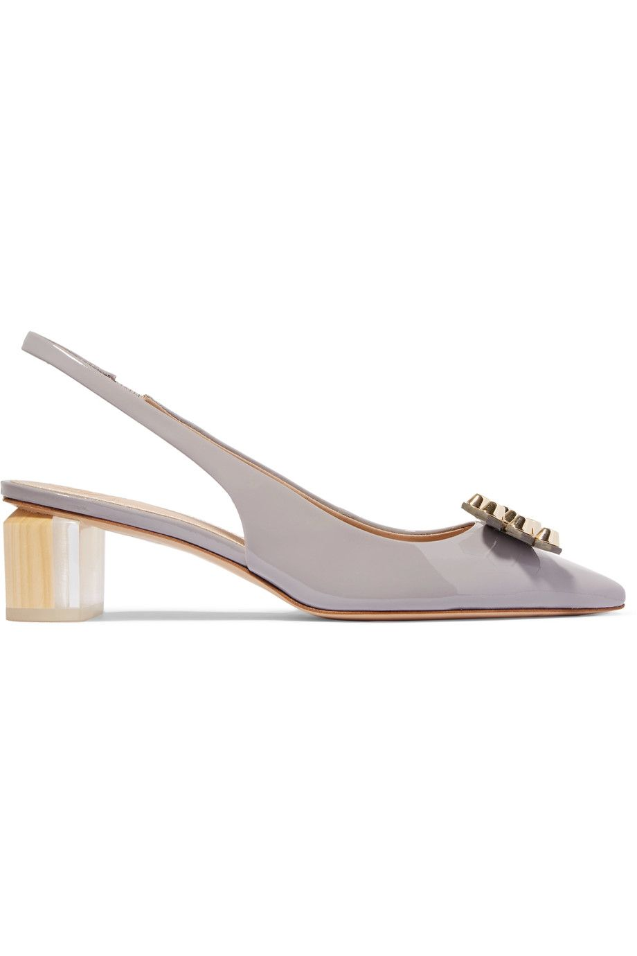 TORY BURCH Aurora embellished patent-leather slingback pumps. #toryburch # shoes #pumps