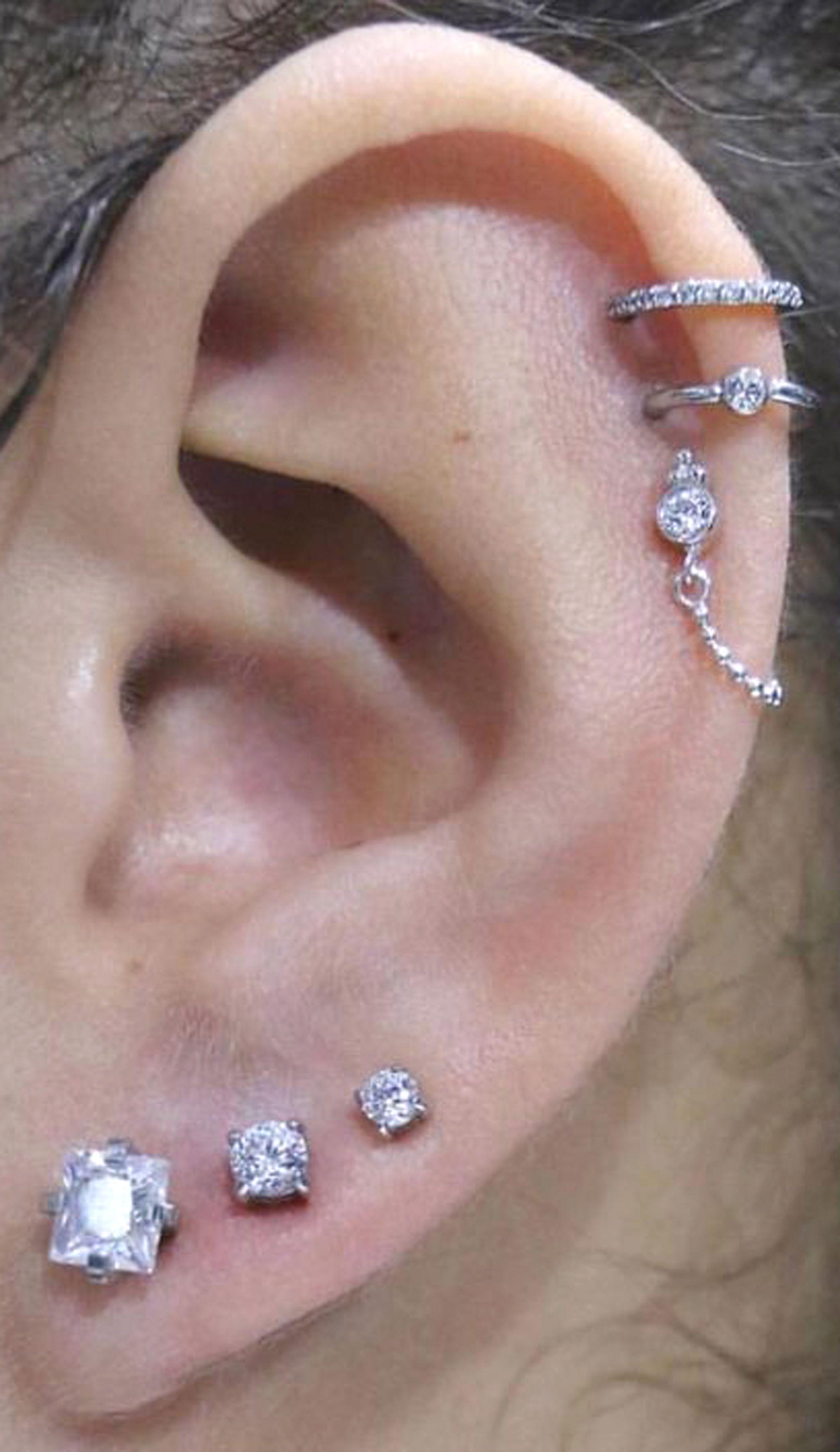 7c9d062c1 unique simple ear piercing ideas triple helix lobe cartilage helix conch earring  studs jewelry ring hoops in silver