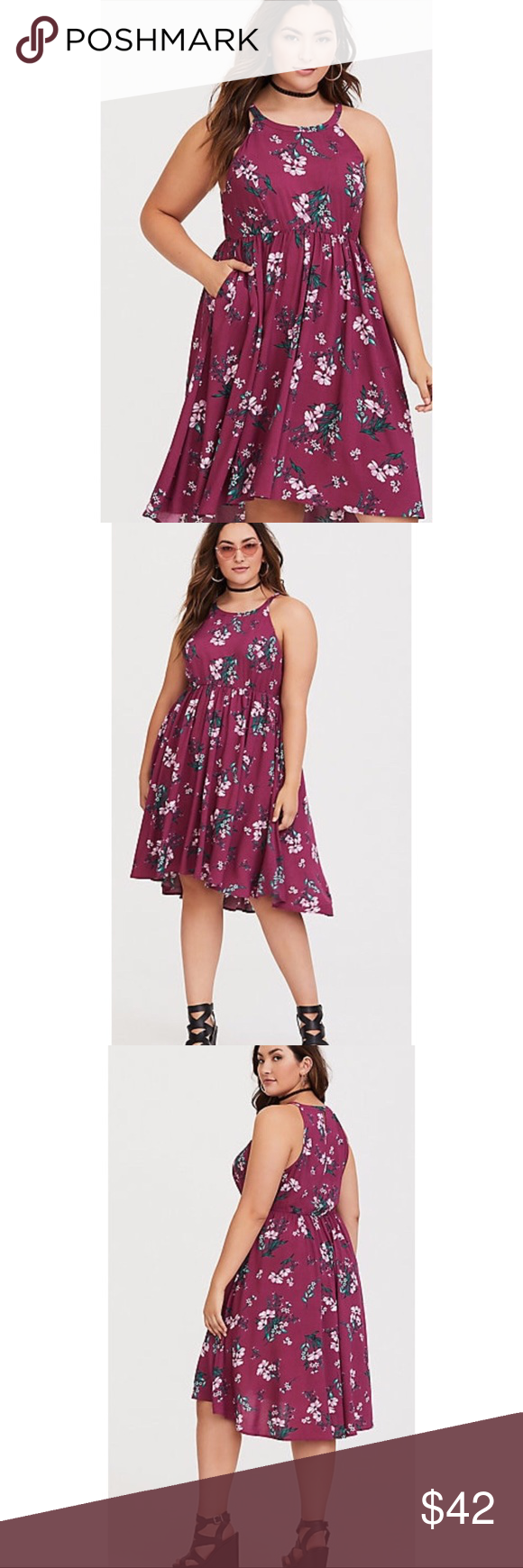 adc0f52d3fc58 Berry Floral Hi Low Chalis Dress Challis fabric High neck Sleeveless   cutaway shoulders Side pockets button-loop keyhole back Stretch waist Hi-lo  hem ...