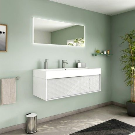 meuble de salle de bains plus de 120 blanc beige naturels neo - Salle De Bain Beige Blanc