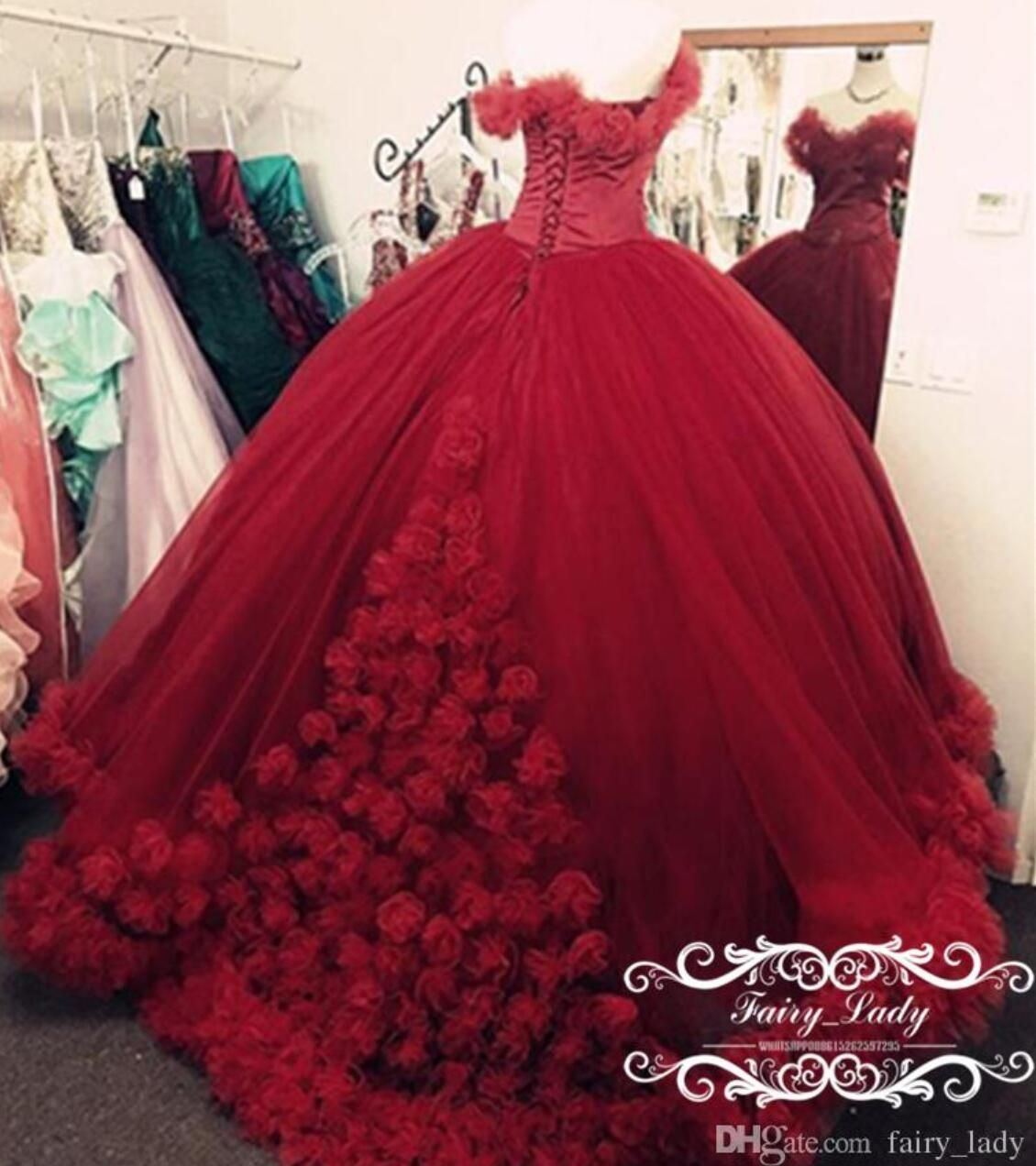 e9f1076905 Luxury Hand Made Flowers Red Wedding Dresses 2018 Puffy Ball Gown Off  Shoulder Vestido De Noiva Masquerade Bridal Dress Gowns