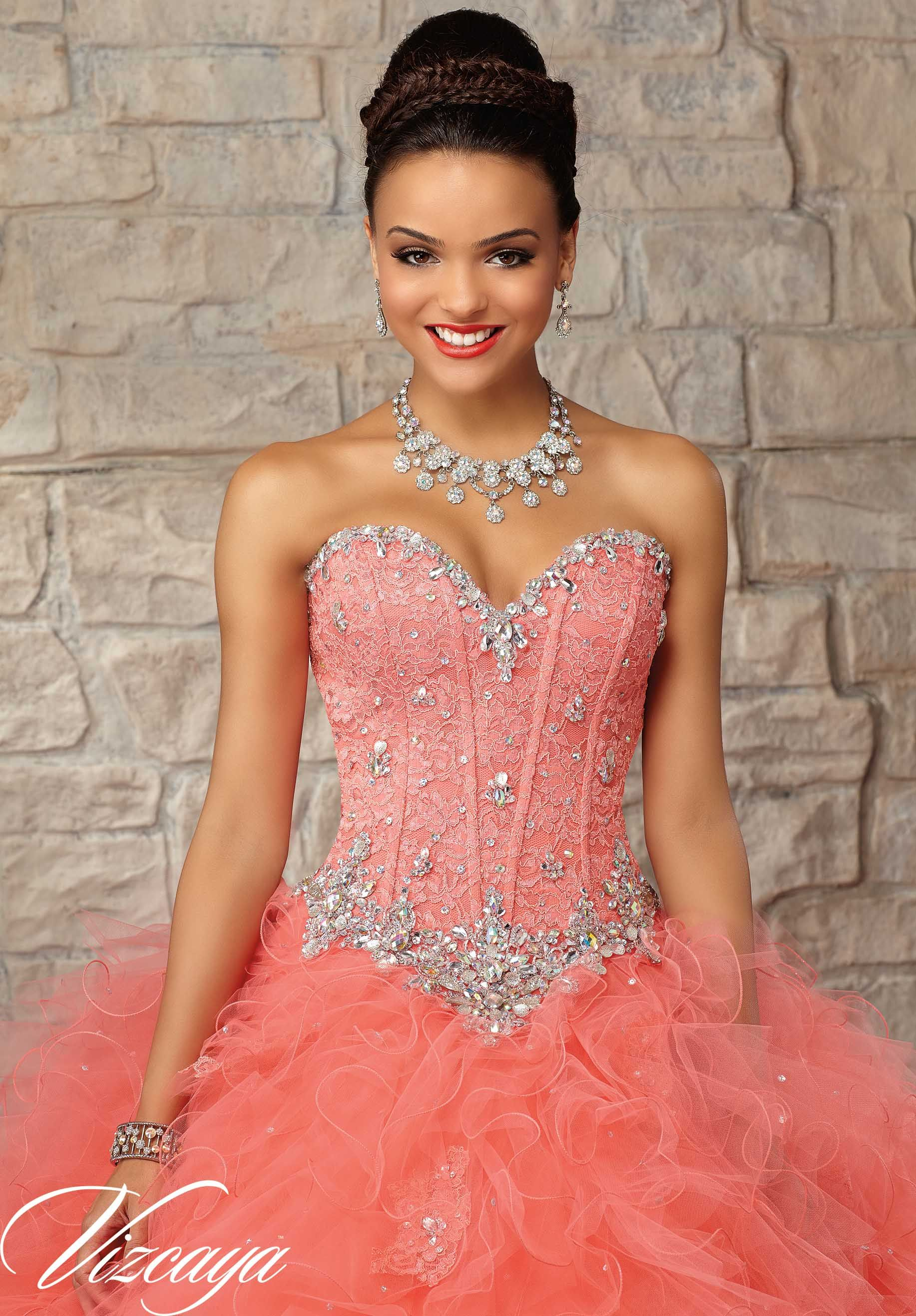 Quinceanera Dress 89032 Beaded Lace Bodice on a Ruffled Tulle Skirt ...