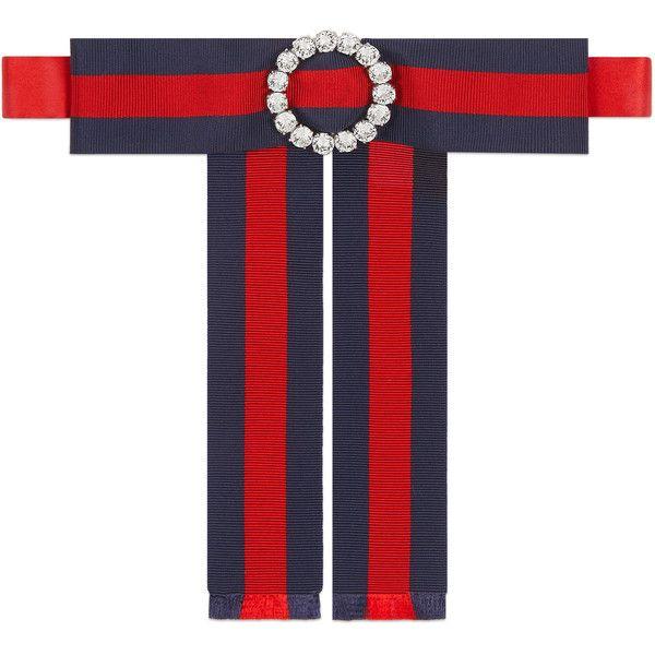 9707ce276e3 Gucci Jeweled Grosgrain Web Neck Bow (6