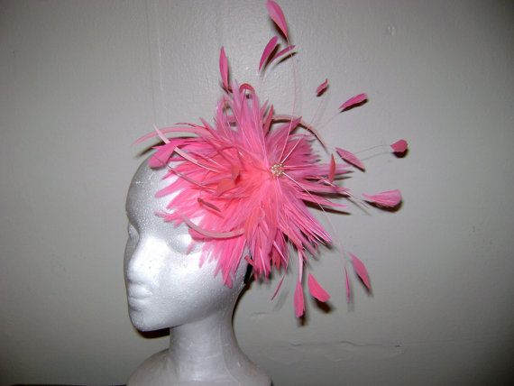 Great Gatsby - Bright Pink Feather Fascinator Headband Hat - Custom Color