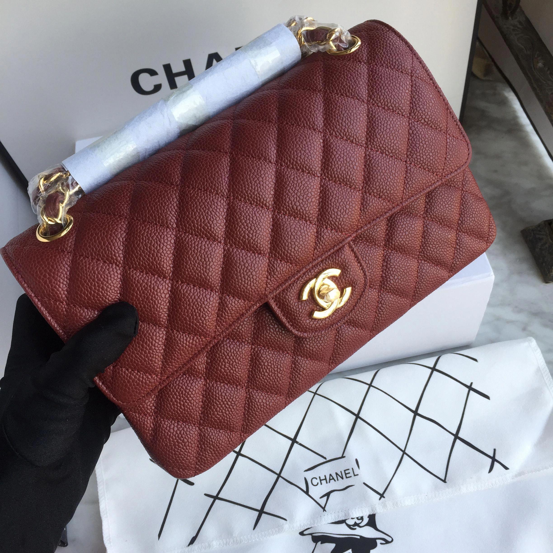 Chanel 2 55 Classic Flap Bag Original Leather Burgundy Color Chanelhandbags Womensshoulderbags Chanel Bag Classic Chanel Handbags Chanel