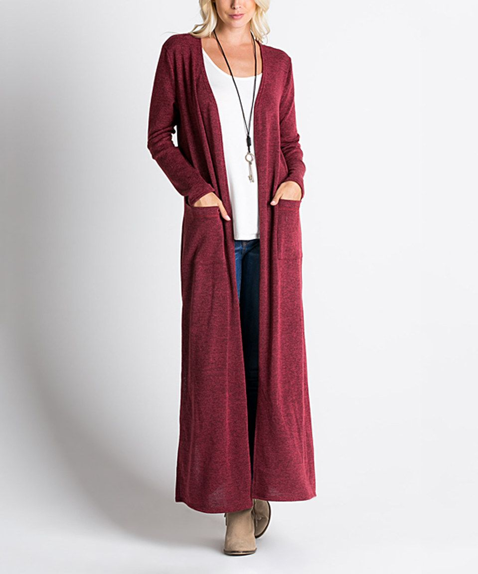 This MIRACLE BERRY Burgundy Maxi Open Cardigan by MIRACLE BERRY is ...