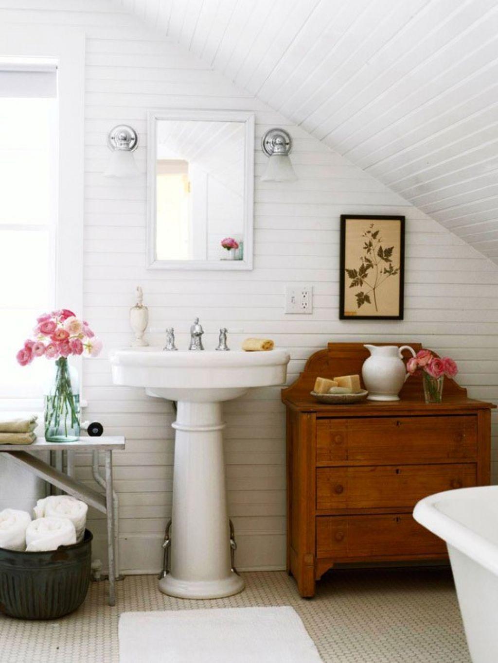 Bathroom , Slanted Roof Bathroom Ideas : Slanted Ceiling White Tile ...