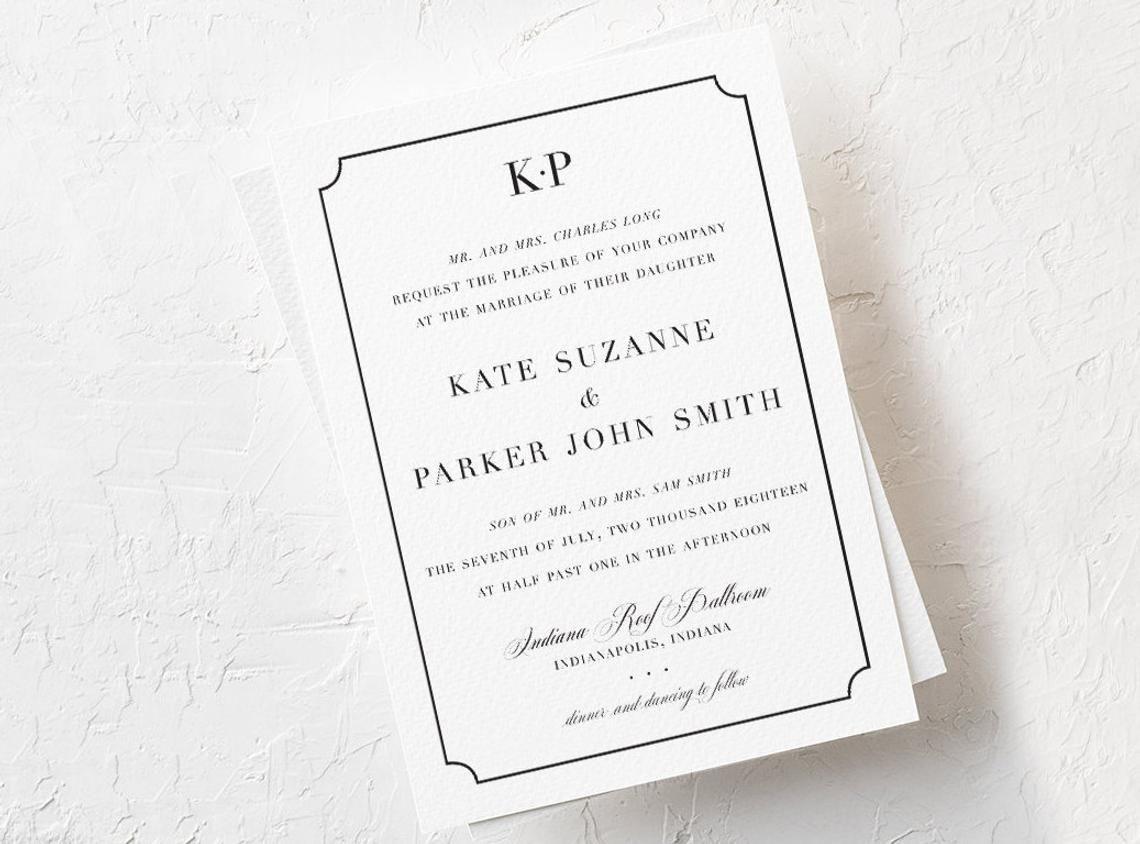 Kate Suzanne Elegant Wedding Invitation Set 5x7 Classic Etsy Elegant Wedding Invitations Wedding Invitation Sets Wedding Invitations