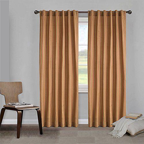 ComforHome Stripe Faux Silk Window Curtain Rod Pocket DrapesPanels Red 54 X 84 Colorful