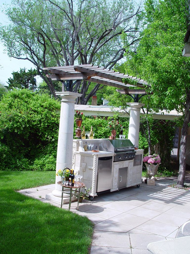 Magnificent Custom Outdoor Kitchen Concepts With Concrete Column Pergola Also Country Stone Cladding From Diy Guide