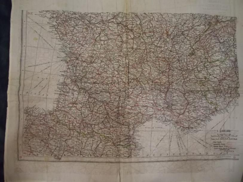 War Office(RAF)  Map printed on silk handkerchief of France/Germany. 1940 Thierry de Maigret