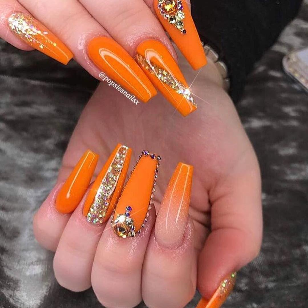 Preparing To Drive Orange Nail Polish Page 9 Of 30 Mycolorednails Com Fall Acrylic Nails Orange Nails Orange Acrylic Nails