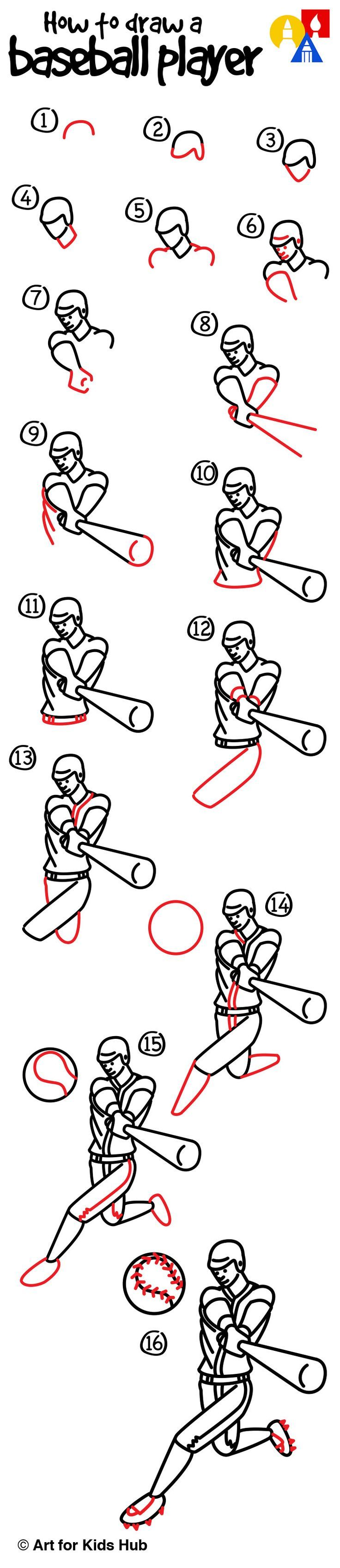 How To Draw A Baseball Player Art For Kids Hub Art For Kids Hub Drawing For Kids Art For Kids