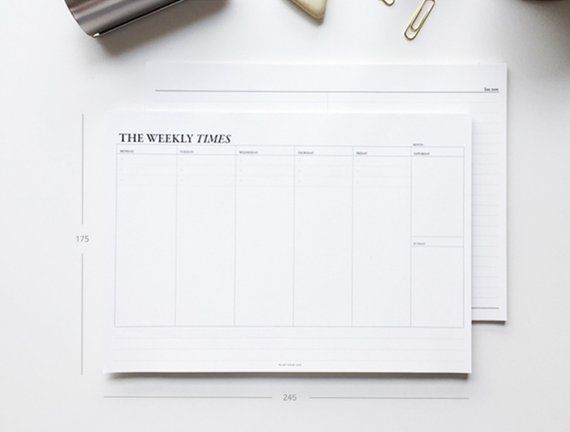 Weekly Desk Planner Large Planner Monthly Planner 2019 Planner