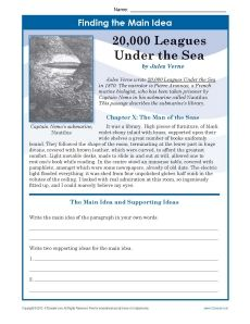 Middle School Main Idea Worksheet about 20,000 Leagues Under The Sea ...
