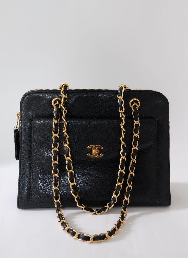 Chanel Vintage Black Caviar Gold Strap Front Pocket Shoulder Tote ... 9b9028437b