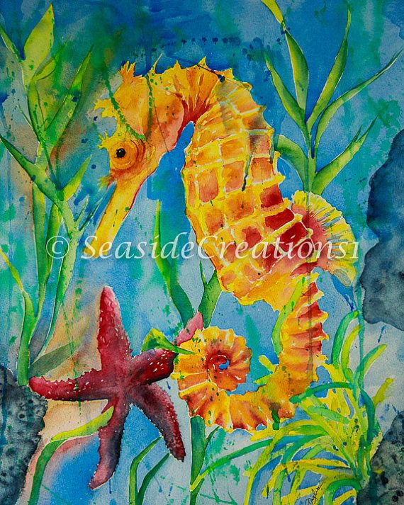 Seahorse Watercolor PRINT  Tropical by SeaSideCreations1 on Etsy