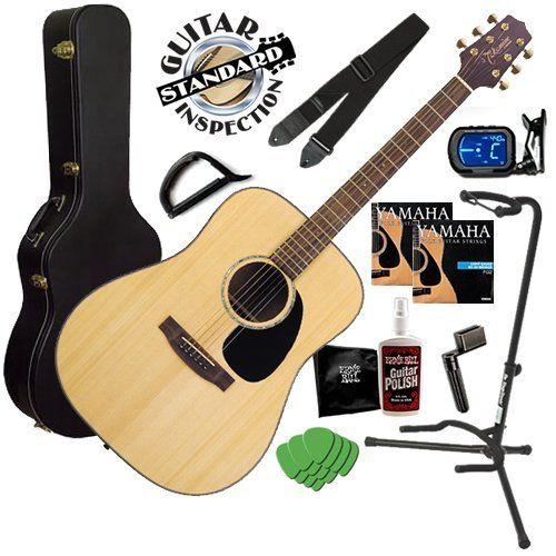 Takamine G340 Guitar BUNDLE w/ Hard Case, Tuner, Strap & Stand by Takamine. $309.99. Takamine Acoustic Guitar BUNDLE including the Takamine G340 Acoustic Guitar in Natural Finish, Hardshell Guitar Case, Chromatic Instrument Tuner, Guitar Stand, Guitar Strings, Polish, Guitar Strap, Picks, String Winder and our Standard Guitar Inspection.
