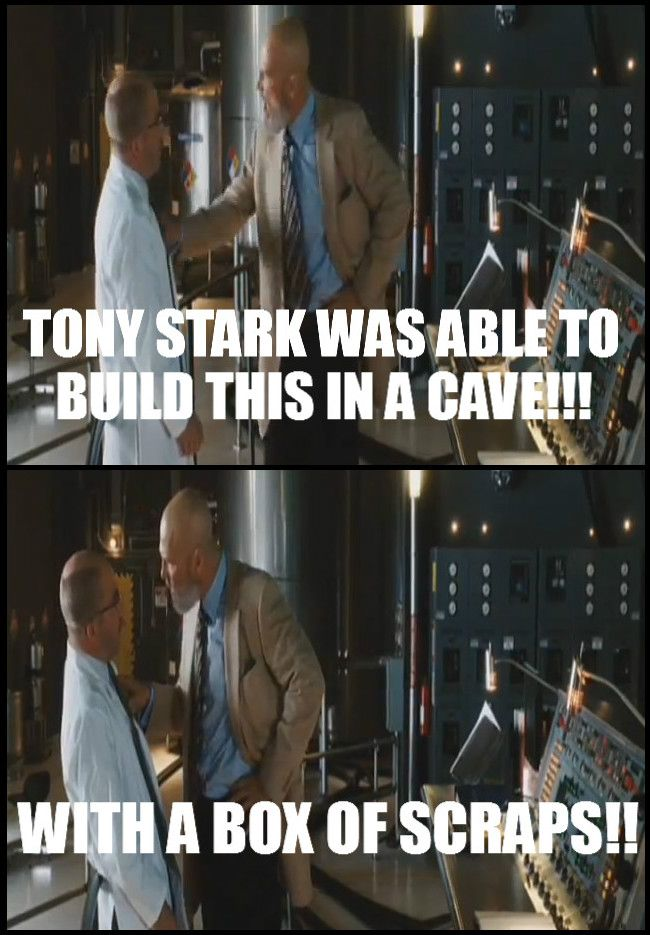 Image result for tony stark built this in a cave quote