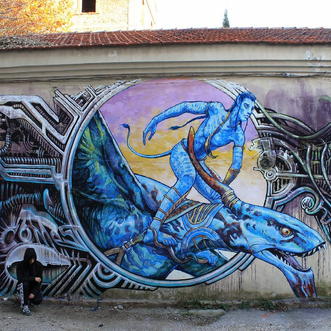 Part Of After Chaos Comes Creation Mural Thessaloniki - Awesome mechanical shark mural phlegm