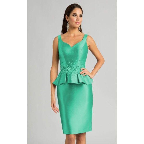 Feriani 18559 Cocktail Dress Knee Length V-Neck Sleeveless ($398) ❤ liked on Polyvore featuring dresses, cocktail dresses, emerald, green cocktail dress, mother of the bride formal dresses, emerald cocktail dress, v-neck dresses and peplum dress
