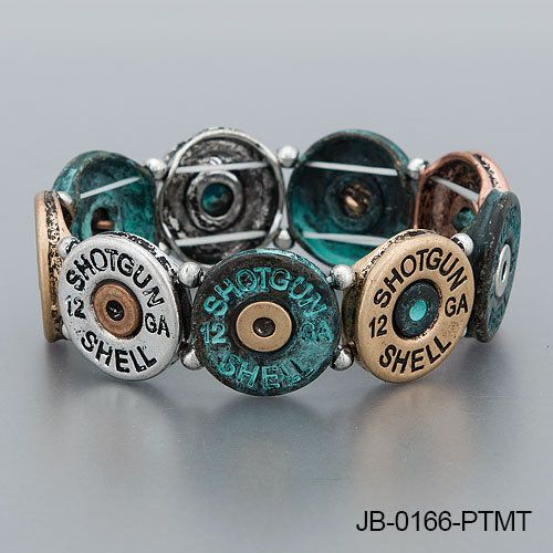Gold Silver Copper Patina 12 Gauge Shotgun Shell Vintage Stretchable Bracelet #Sugar #Statement