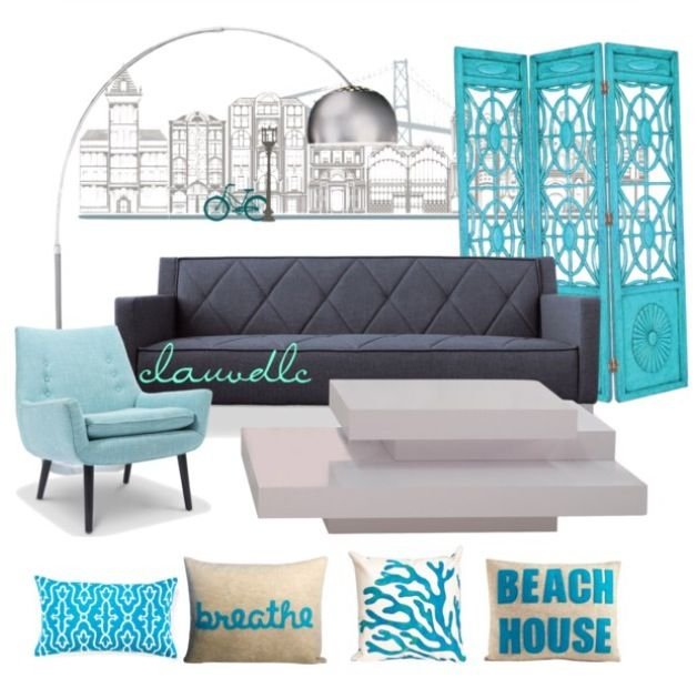 Turquoise & Gray Living Room , Turquoise Chair, Gray Sofa