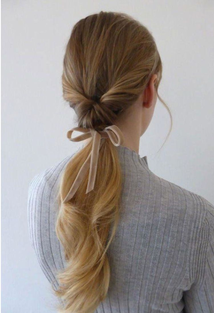 Pin by X.iiv on My hair style in 2019 | Long hair styles, Ribbon hairstyle, Curly hair styles